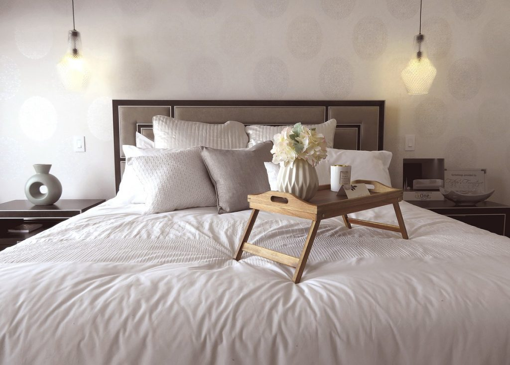bed with food tray